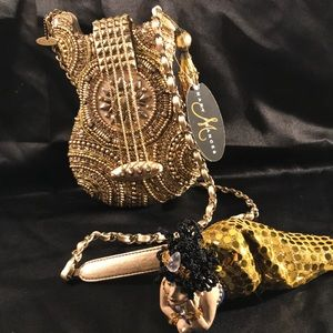 Mary F. Hand Beaded Jeweled Gold Guitar